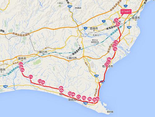 駿遠線全線ジョギングマップ